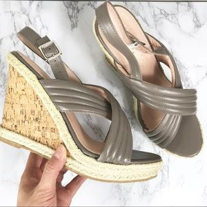 NEW Callisto of CA Taupe Leather Sandal Wedge